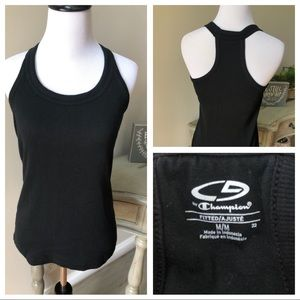 Black athletic gym tank top with built in bra